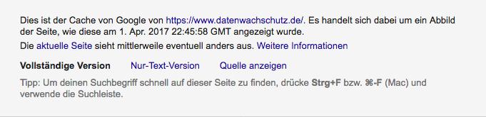 Google Cache Version