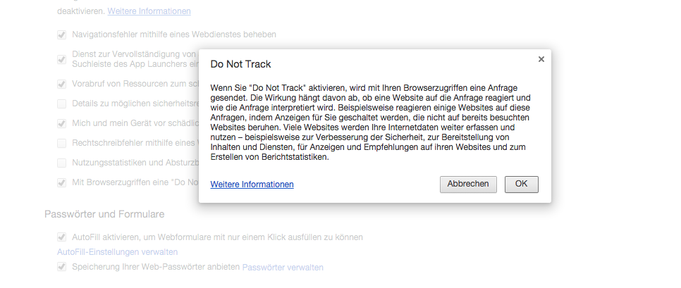 Chrome Do Not Track-Anforderung senden