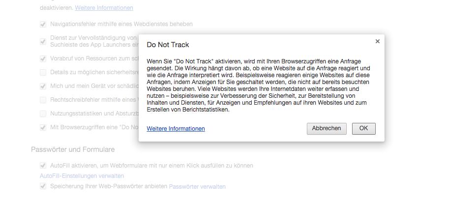 Chrome Do Not Track-Anforderung senden