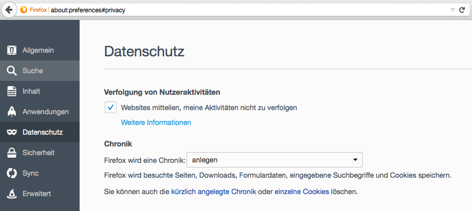 Firefox Aktivitäten nicht verfolgen