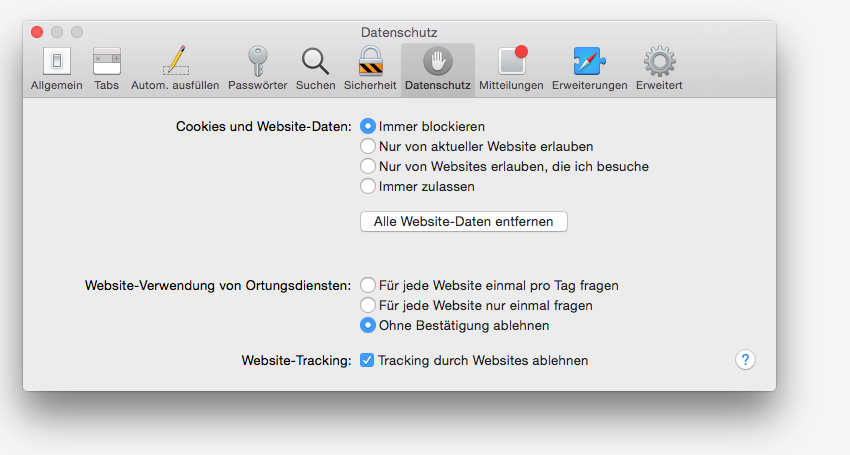 Safari Tracking durch Websites ablehnen