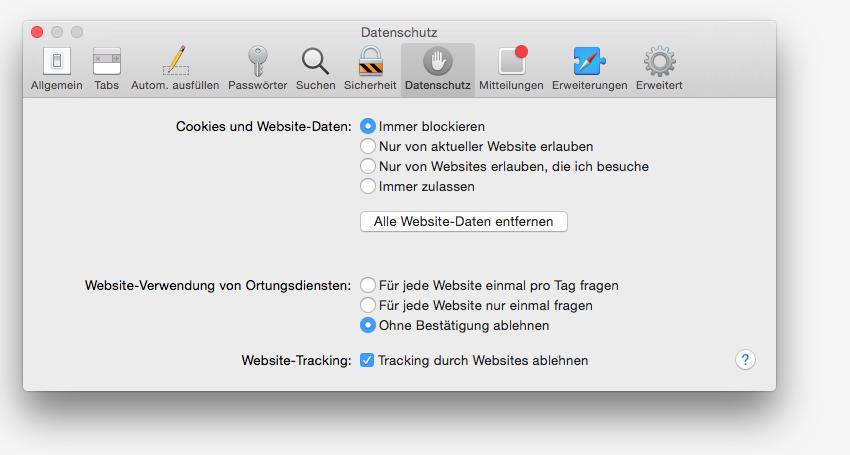 Safari Tracking durch Websites ablehnen