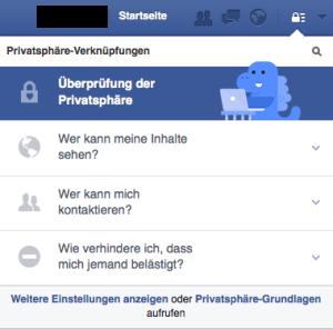 Facebook-Einstellungen Schnellprüfung