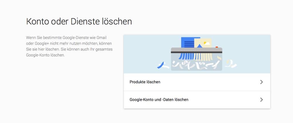 Google Konto löschen