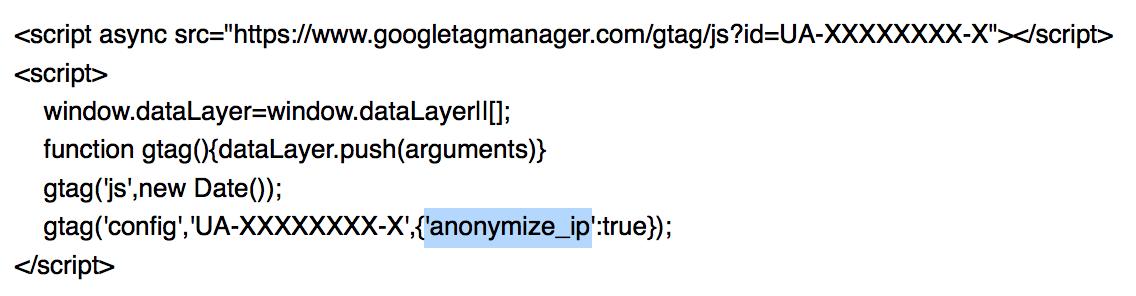 IP-Adressen anonymisieren mit dem allgemeinen Website-Tag (gtag.js)