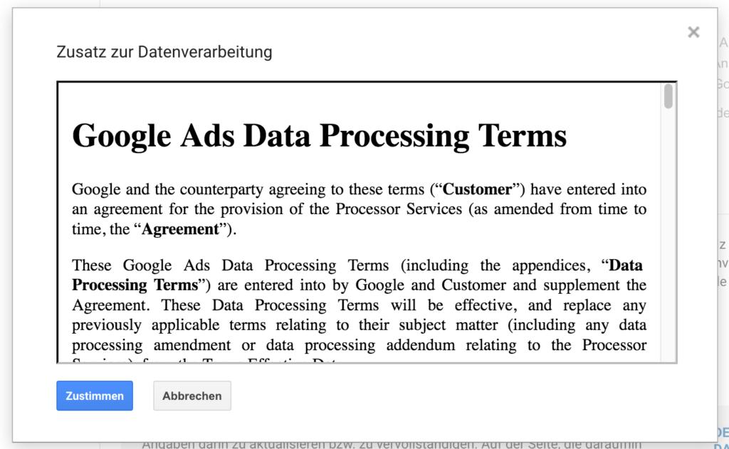 Google Analytics Zustimmung zur Datenverarbeitung