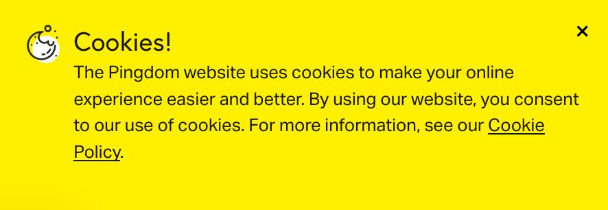 Englischer Cookie-Hinweis auf pingdom.com