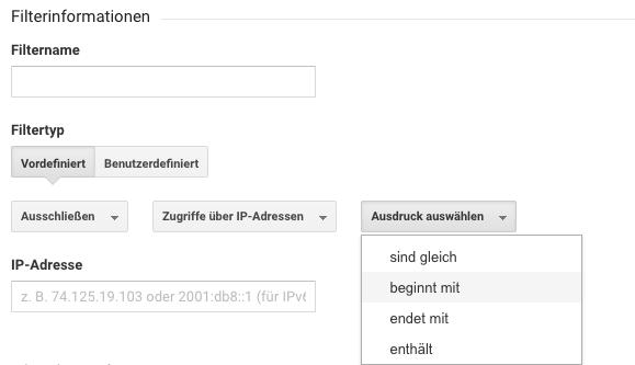 Google IP-Adressen Filter
