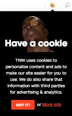 Cookie-Hinweis von thenextweb.com